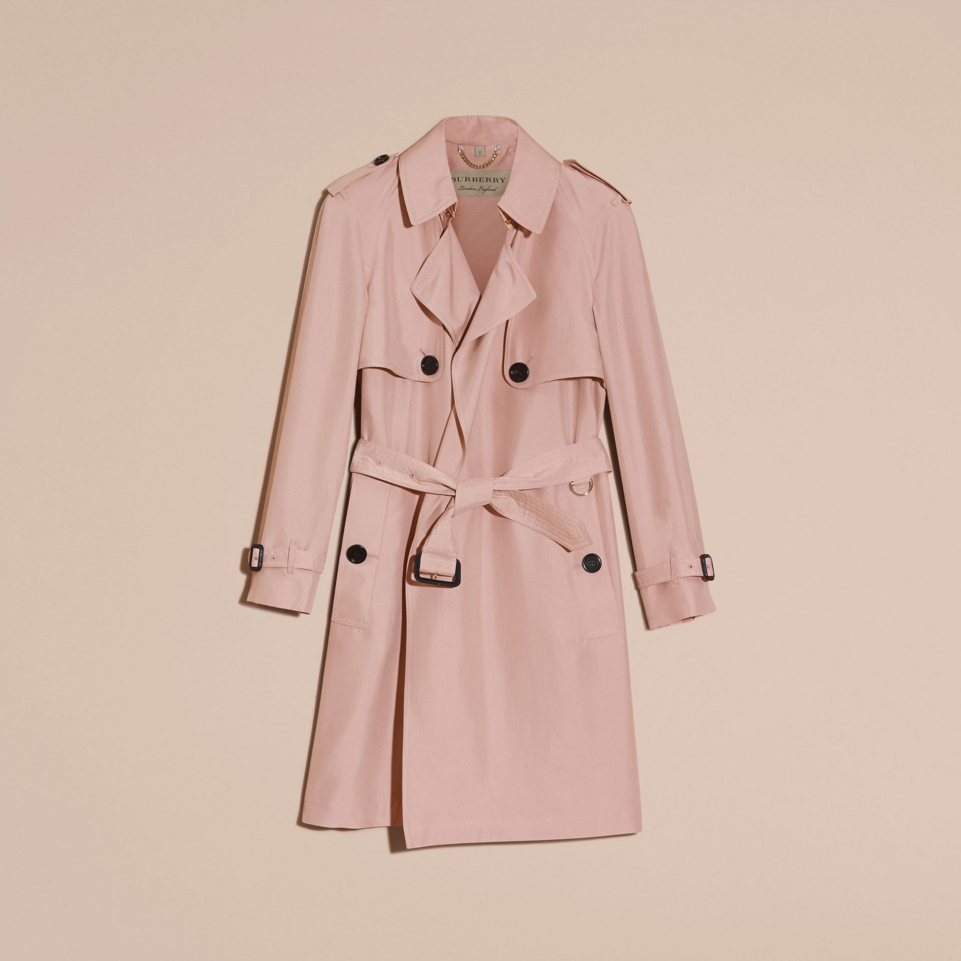 Chalk pink Lightweight Slub Silk Wrap Trench Coat - gallery image 4