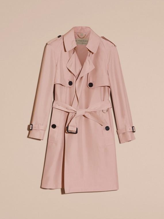 Chalk pink Lightweight Slub Silk Wrap Trench Coat - cell image 3