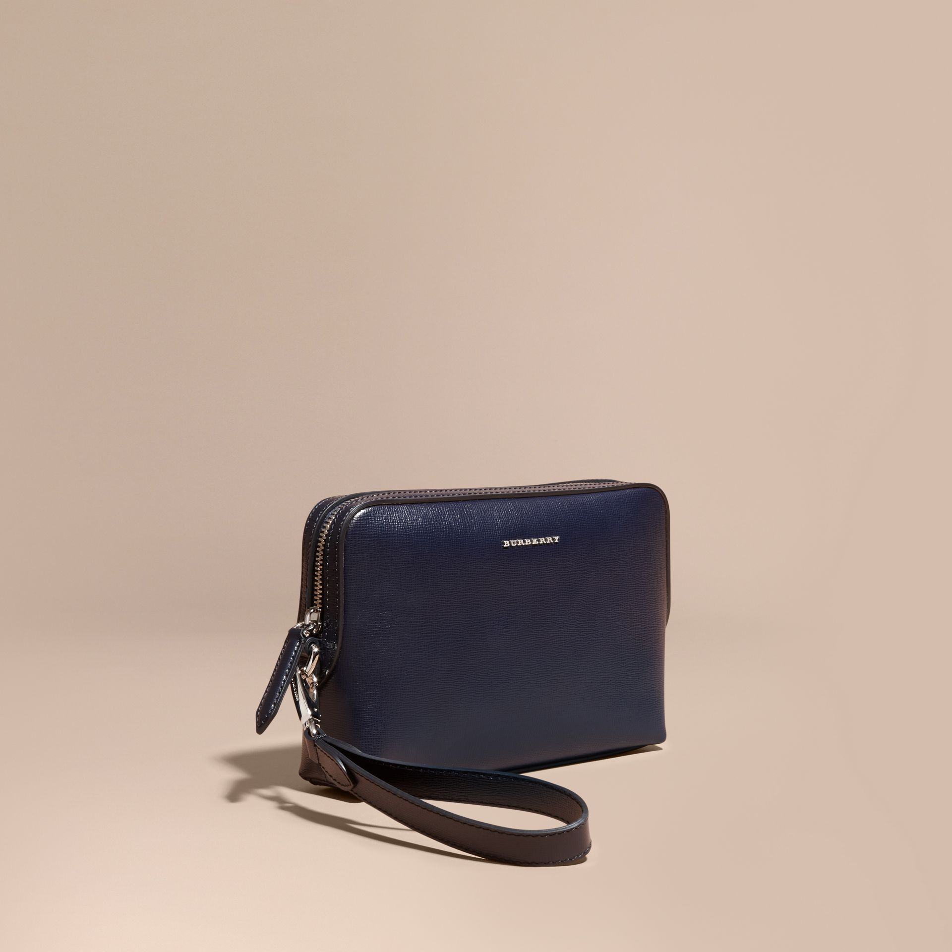 London Leather Pouch in Dark Navy - gallery image 1