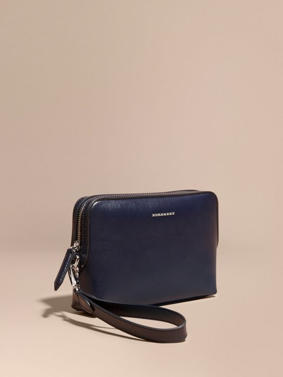 London Leather Pouch in Dark Navy - Men | Burberry