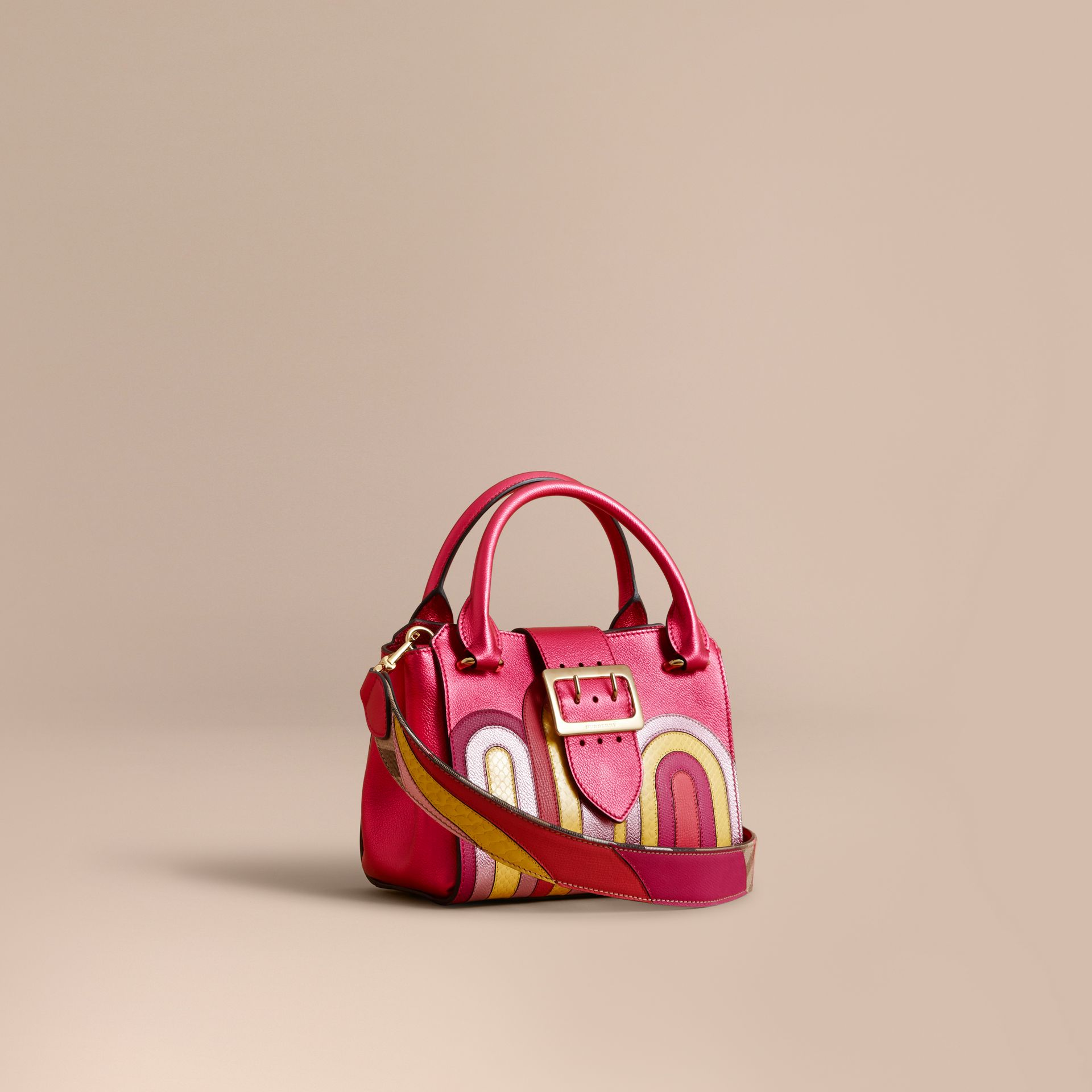 The Small Buckle Tote in Metallic Leather with Snakeskin Appliqué - gallery image 1
