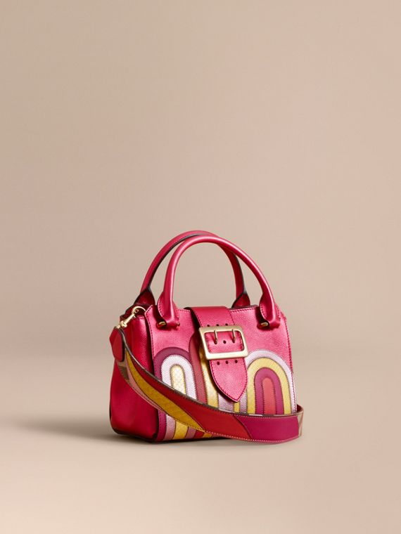 The Small Buckle Tote in Metallic Leather with Snakeskin Appliqué