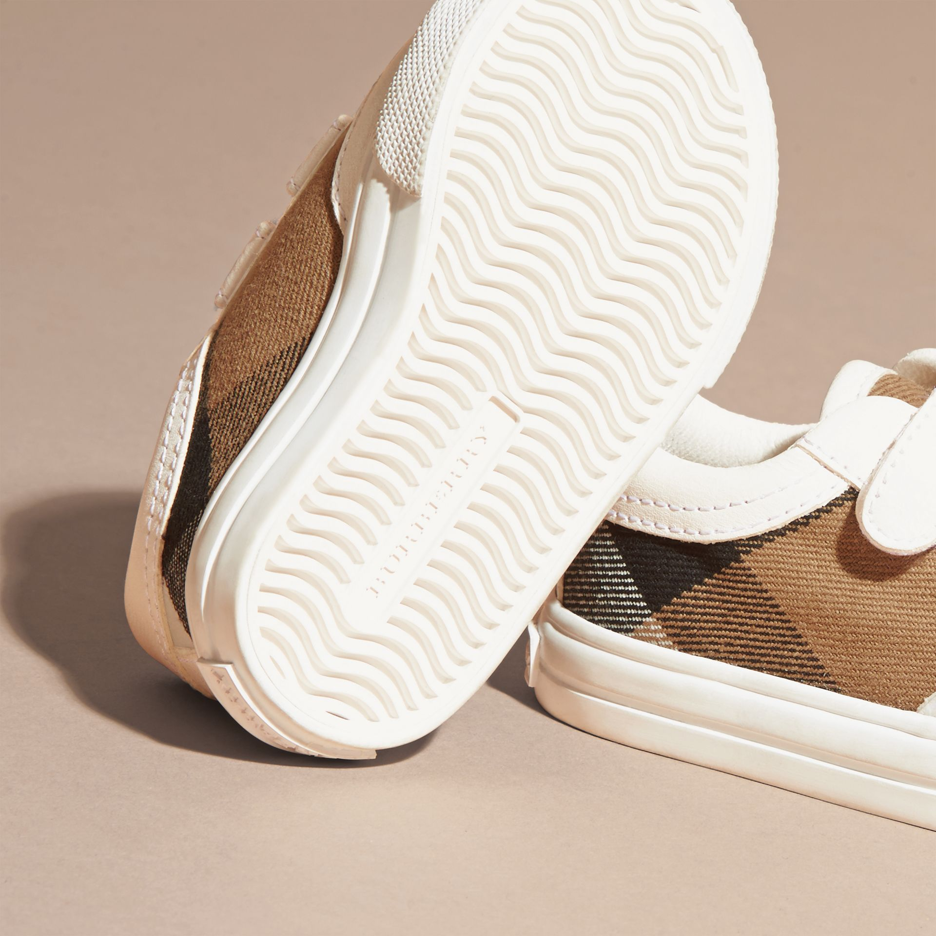House Check and Leather Trainers in Optic White | Burberry Australia - gallery image 2