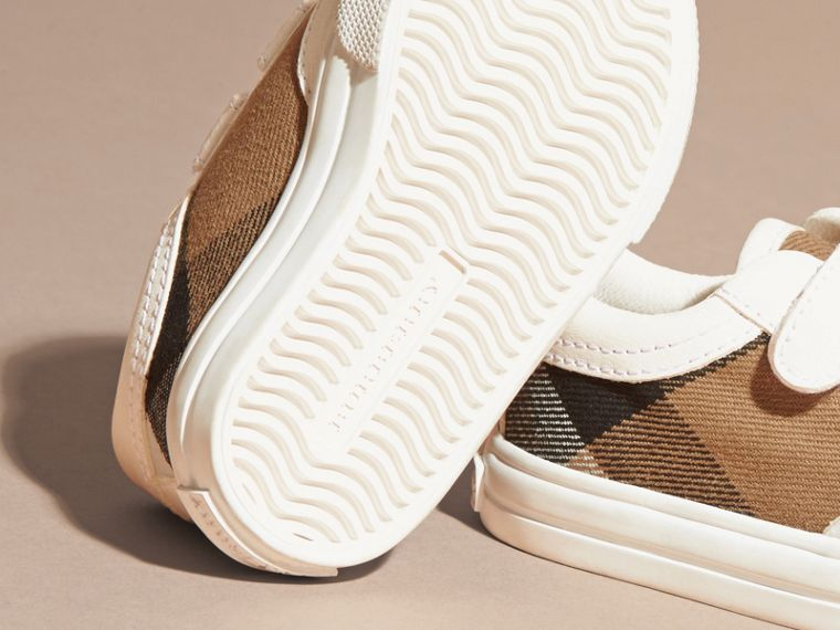 House Check and Leather Trainers in Optic White | Burberry Australia - cell image 1