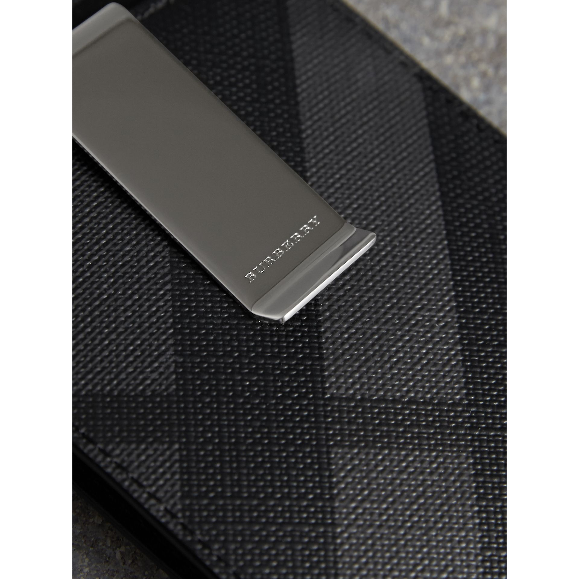 London Check Money Clip Card Case in Charcoal/black - Men | Burberry - gallery image 1