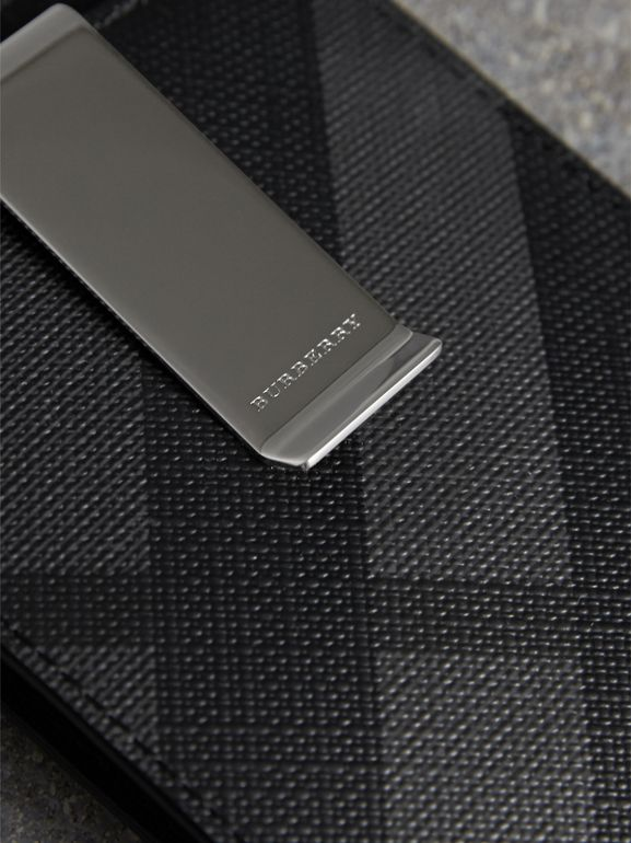 London Check Money Clip Card Case in Charcoal/black - Men | Burberry - cell image 1
