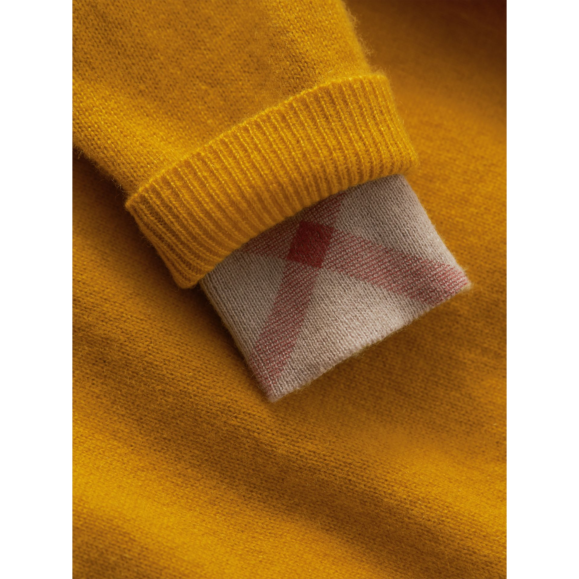 Check Detail Cashmere Sweater in Amber Yellow | Burberry Canada - gallery image 1