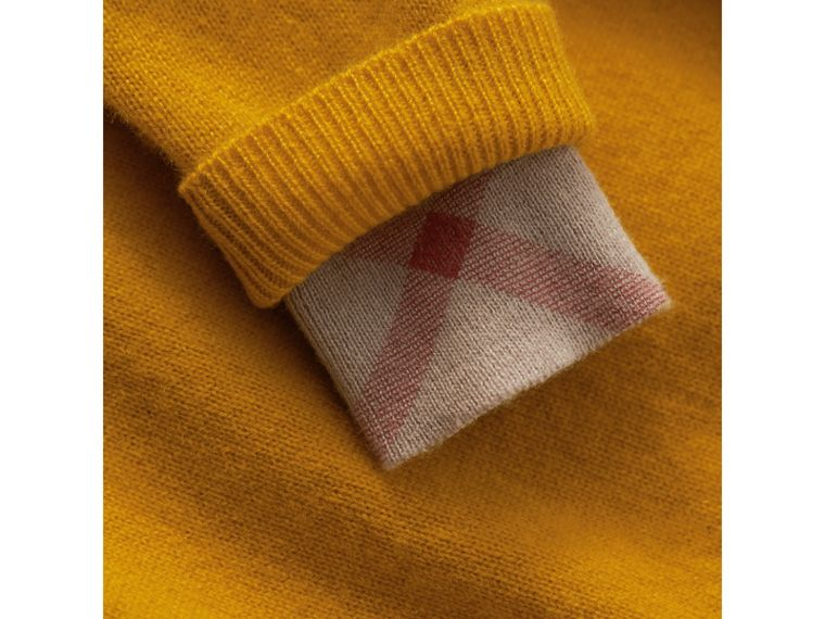 Check Detail Cashmere Sweater in Amber Yellow | Burberry - cell image 1