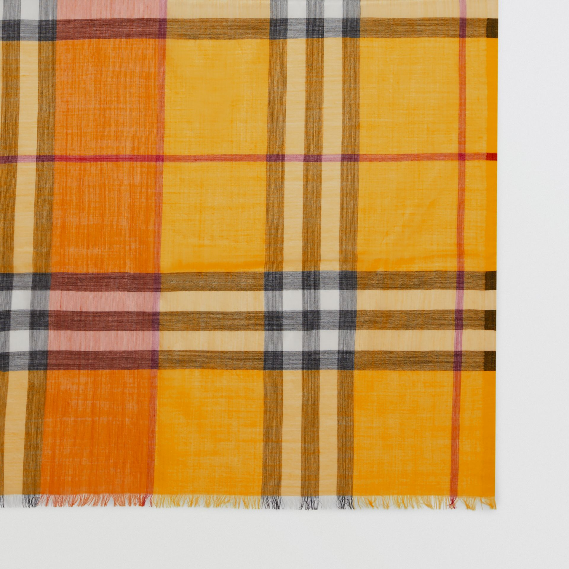 Colour Block Check Wool Silk Scarf in Amber Yellow | Burberry - gallery image 1