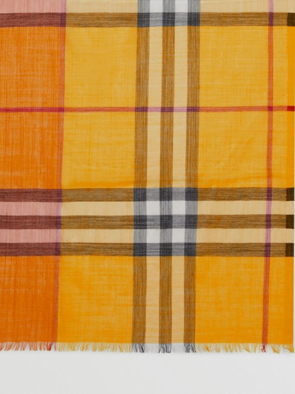 Colour Block Check Wool Silk Scarf in Amber Yellow | Burberry - cell image 1