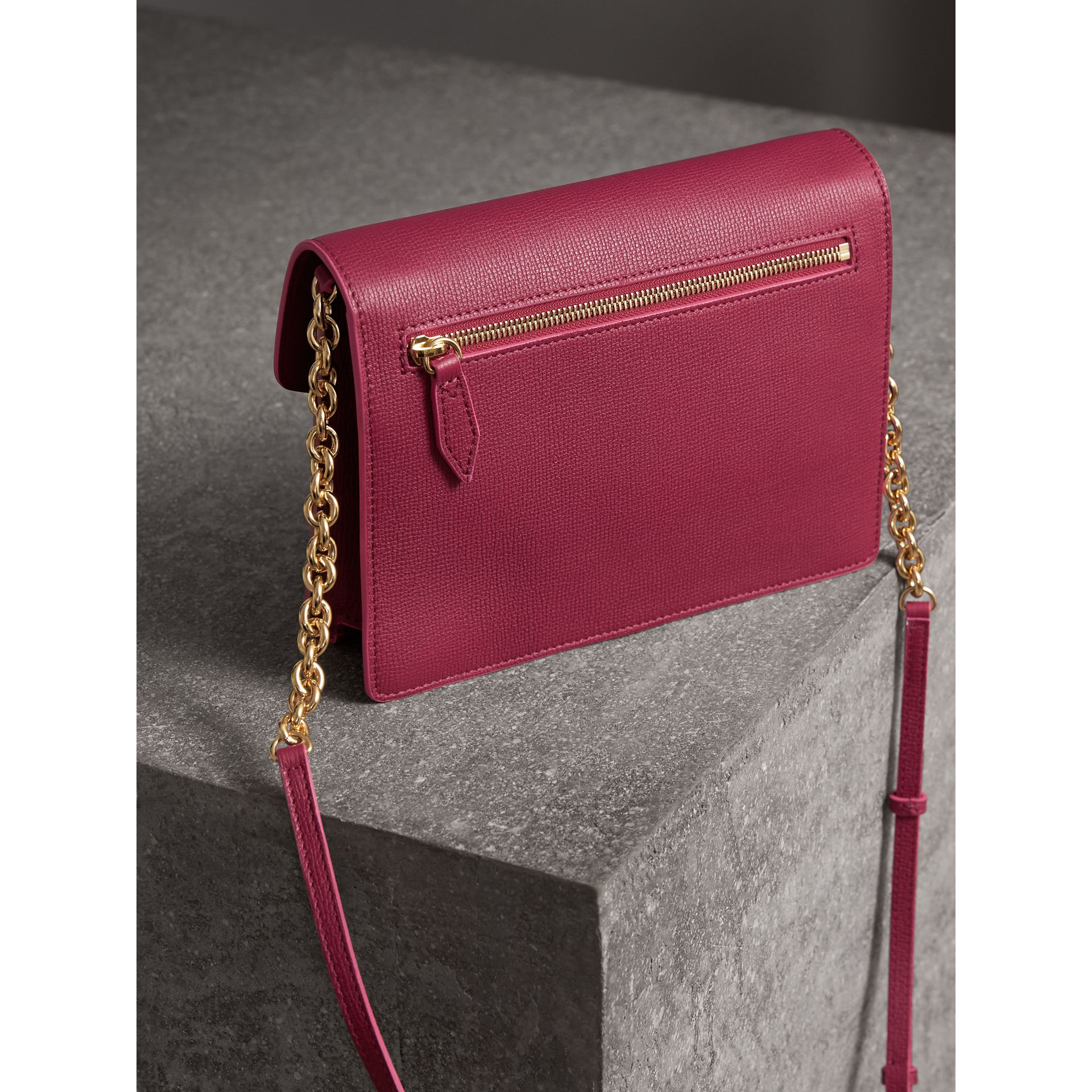 Small Grainy Leather Crossbody Bag in Berry Pink - Women | Burberry Australia - gallery image 2