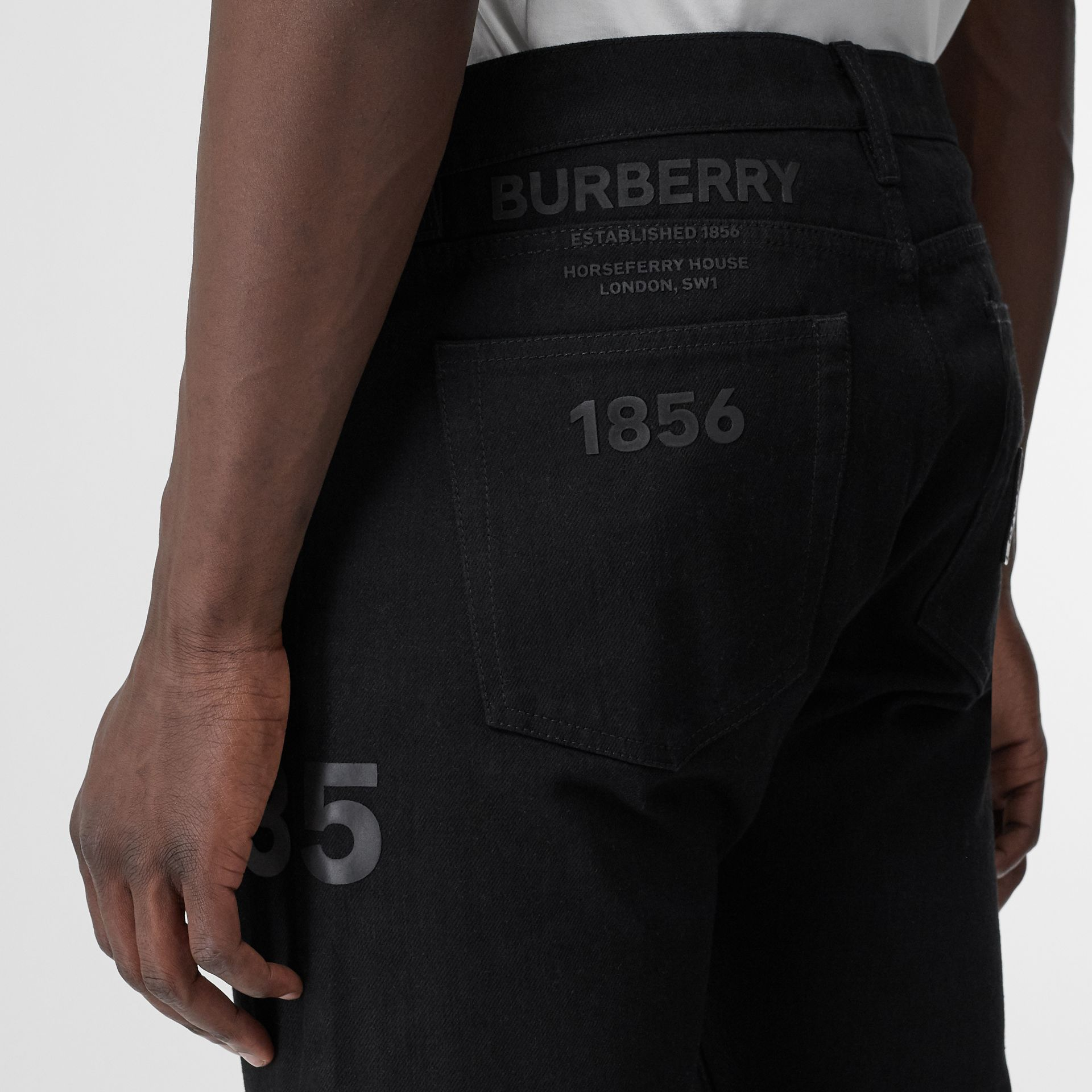 Straight Fit Logo Print Japanese Denim Jeans in Black - Men | Burberry - gallery image 1