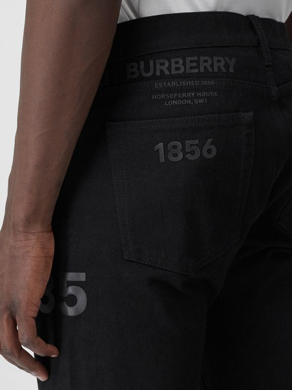 Straight Fit Logo Print Japanese Denim Jeans in Black - Men | Burberry - cell image 1