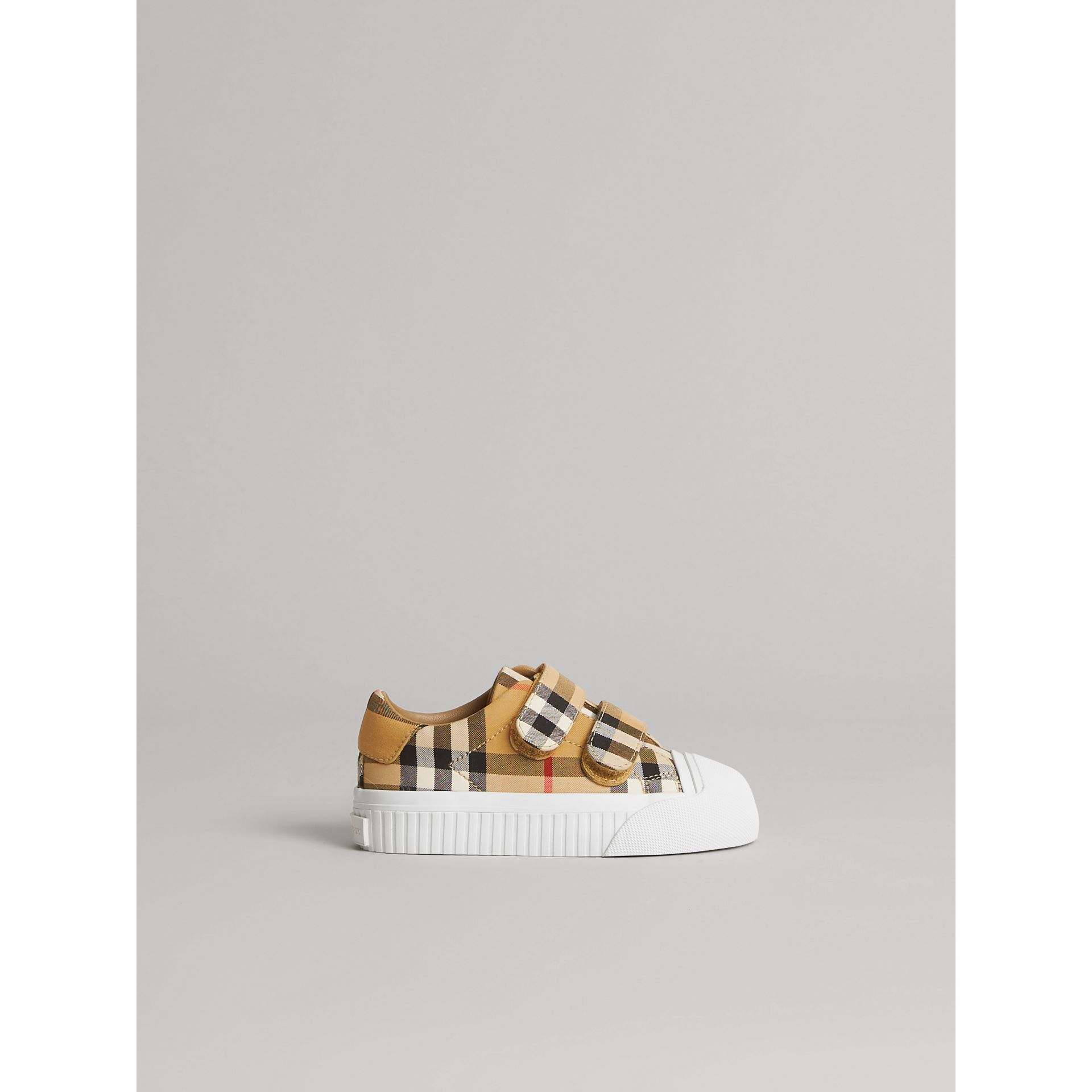 Vintage Check and Leather Sneakers in Optic White/black - Children | Burberry United States - gallery image 3