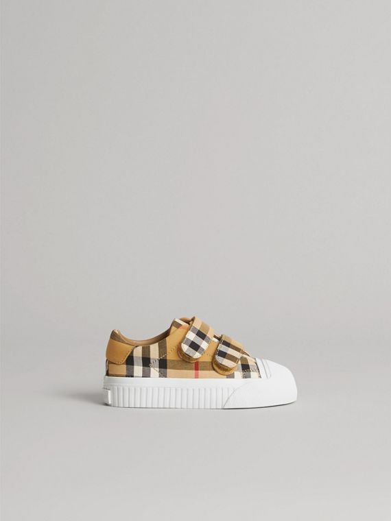 Vintage Check and Leather Sneakers in Optic White/black | Burberry Singapore - cell image 3