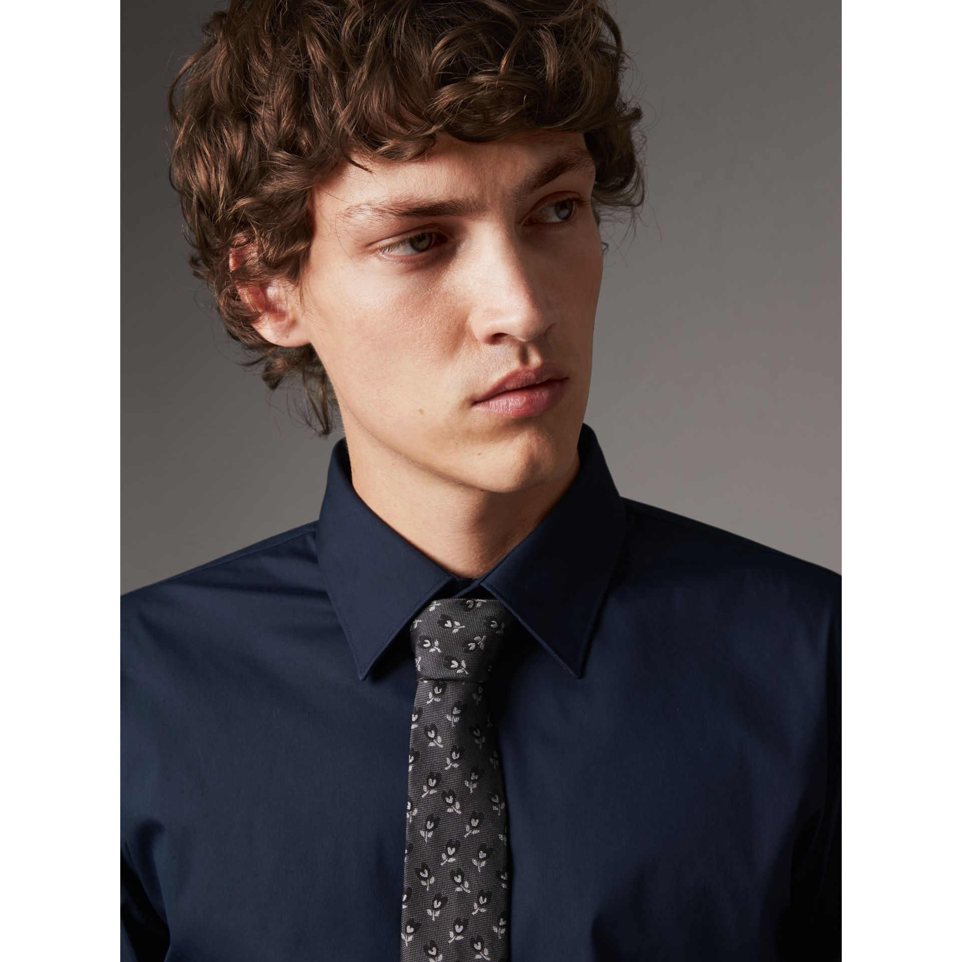 Slim Fit Stretch Cotton Shirt in Navy - Men | Burberry United States - gallery image 2