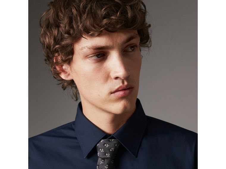 Slim Fit Stretch Cotton Shirt in Navy - Men | Burberry - cell image 1