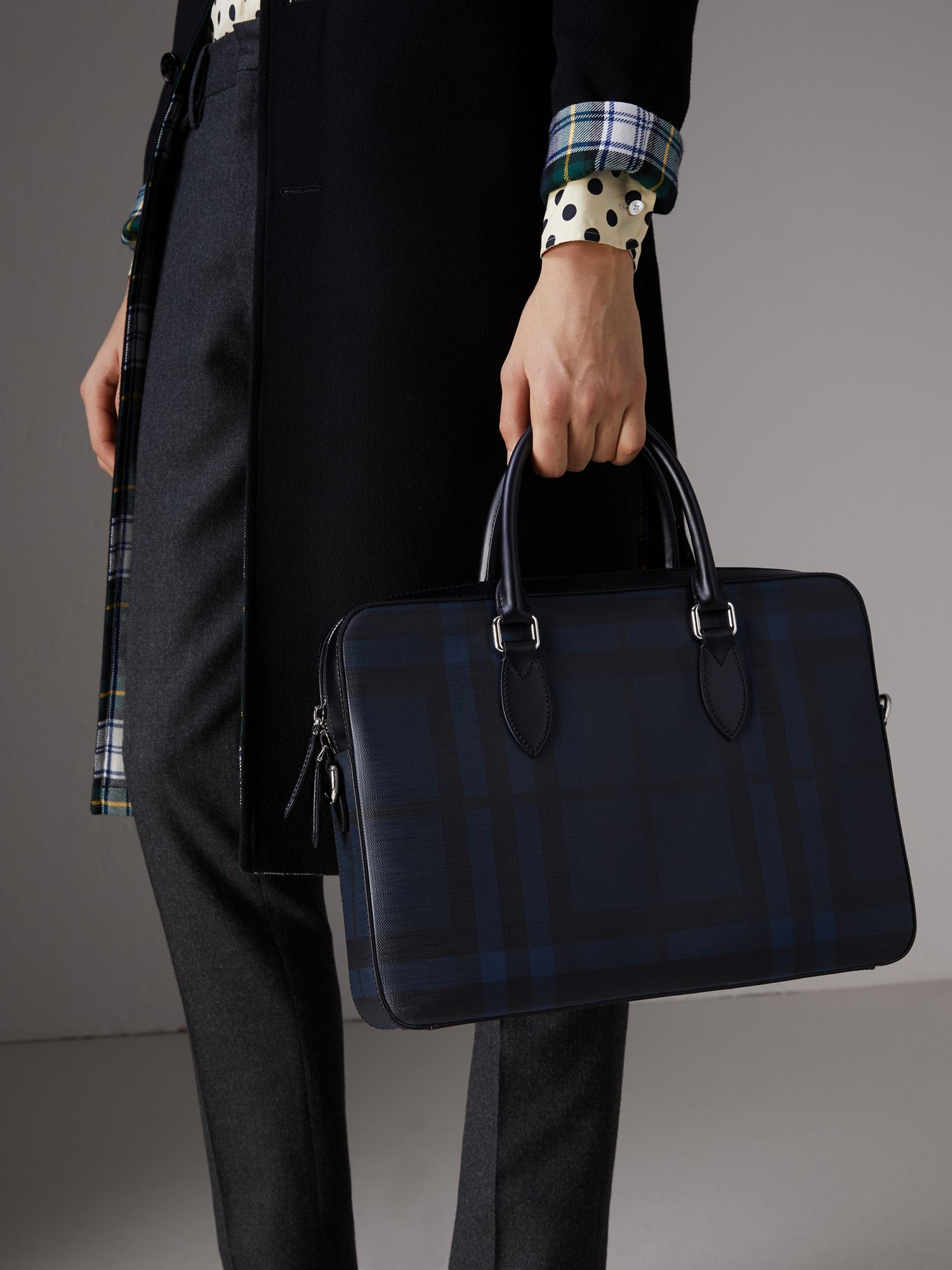 Medium Leather Trim London Check Briefcase in Navy/black