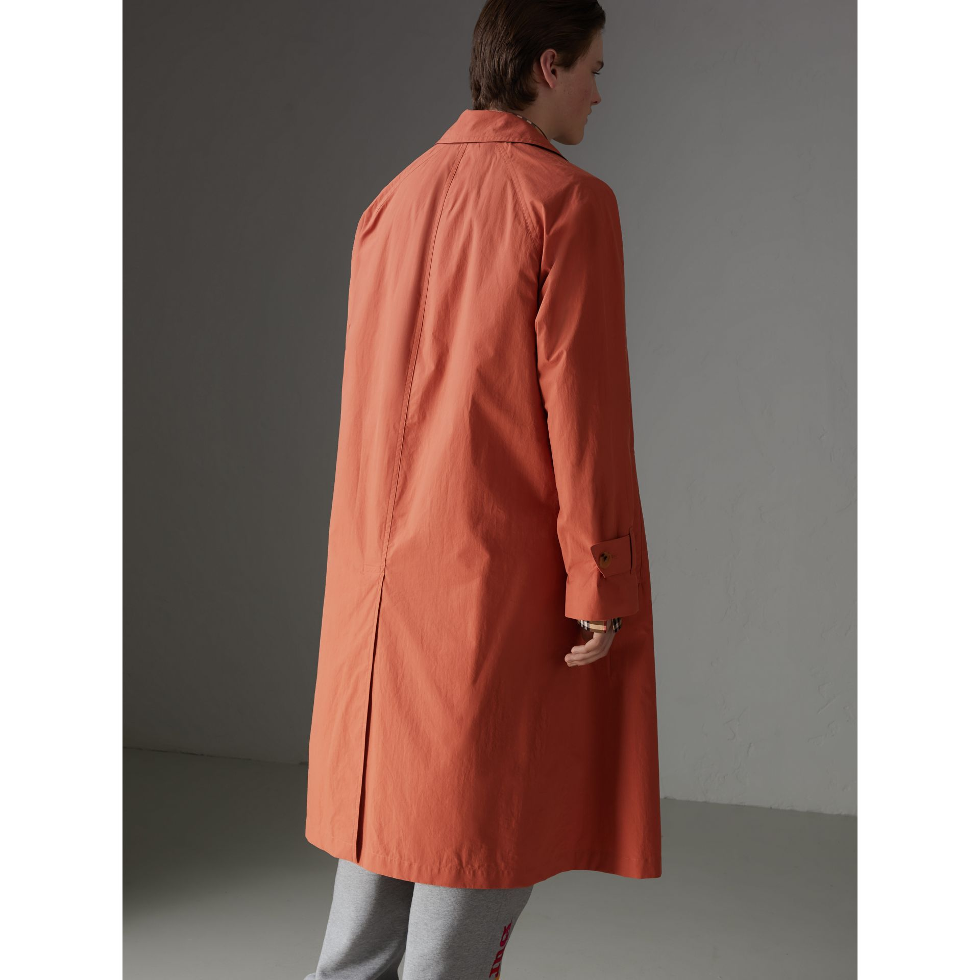 Reissued Cotton Car Coat with Detachable Warmer in Coral - Men | Burberry United States - gallery image 2
