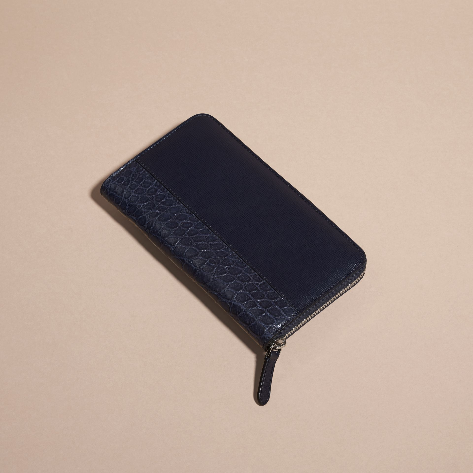 London Leather and Alligator Ziparound Wallet in Dark Navy - gallery image 4