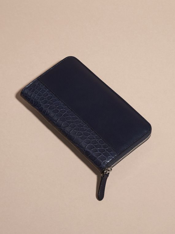 London Leather and Alligator Ziparound Wallet in Dark Navy - cell image 3