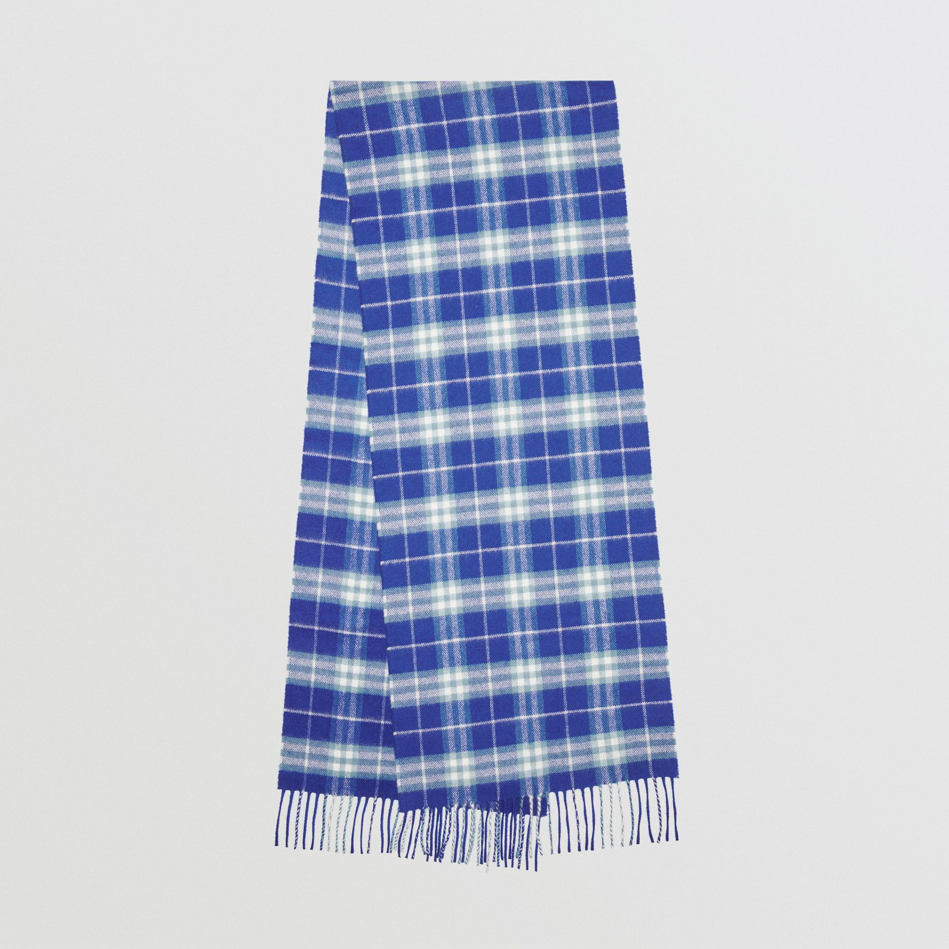 The Classic Vintage Check Cashmere Scarf in Bright Lapis | Burberry - gallery image 0