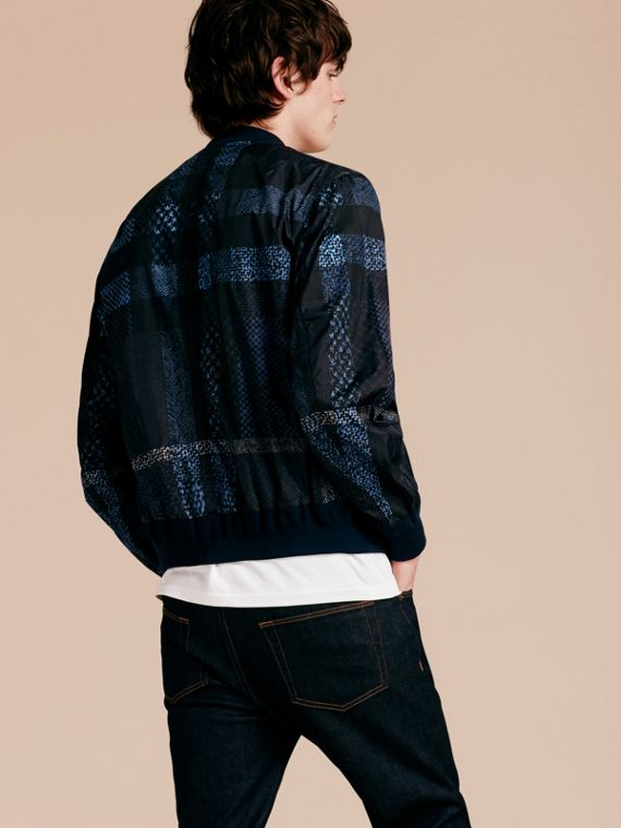 Steel blue Lightweight Check Bomber Jacket - cell image 2