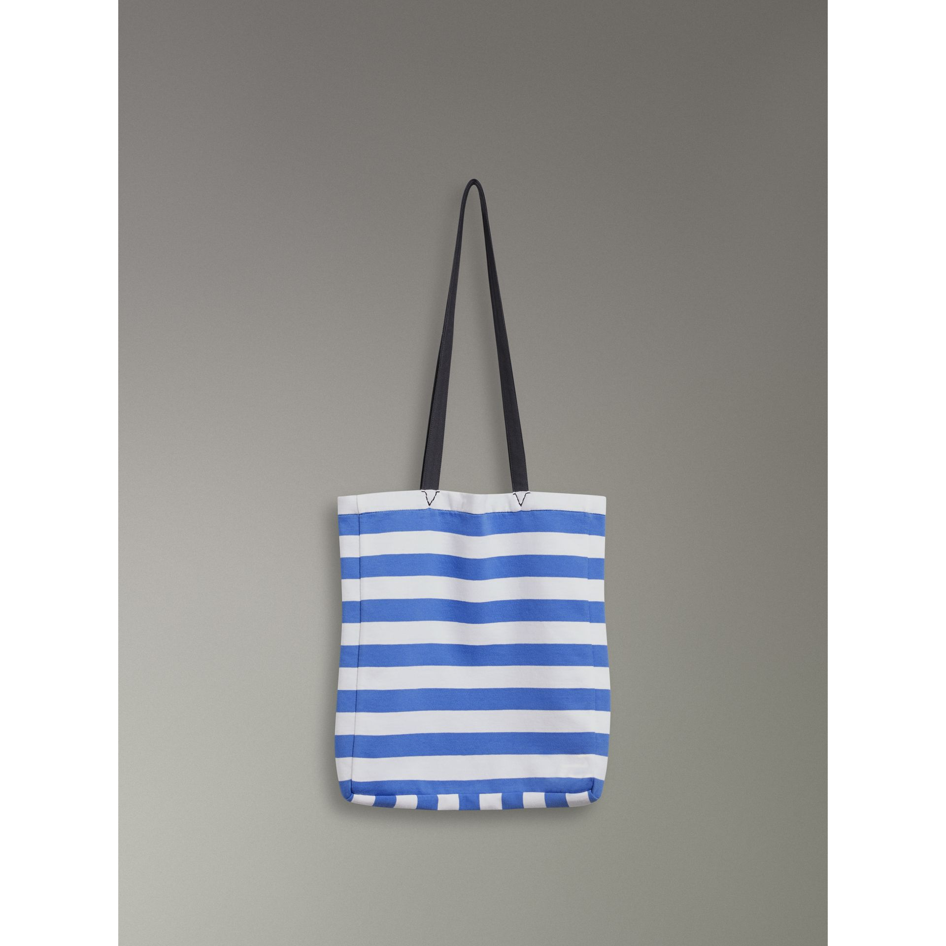 Archive Logo Striped Jersey Tote in Sky Blue/white | Burberry Canada - gallery image 6