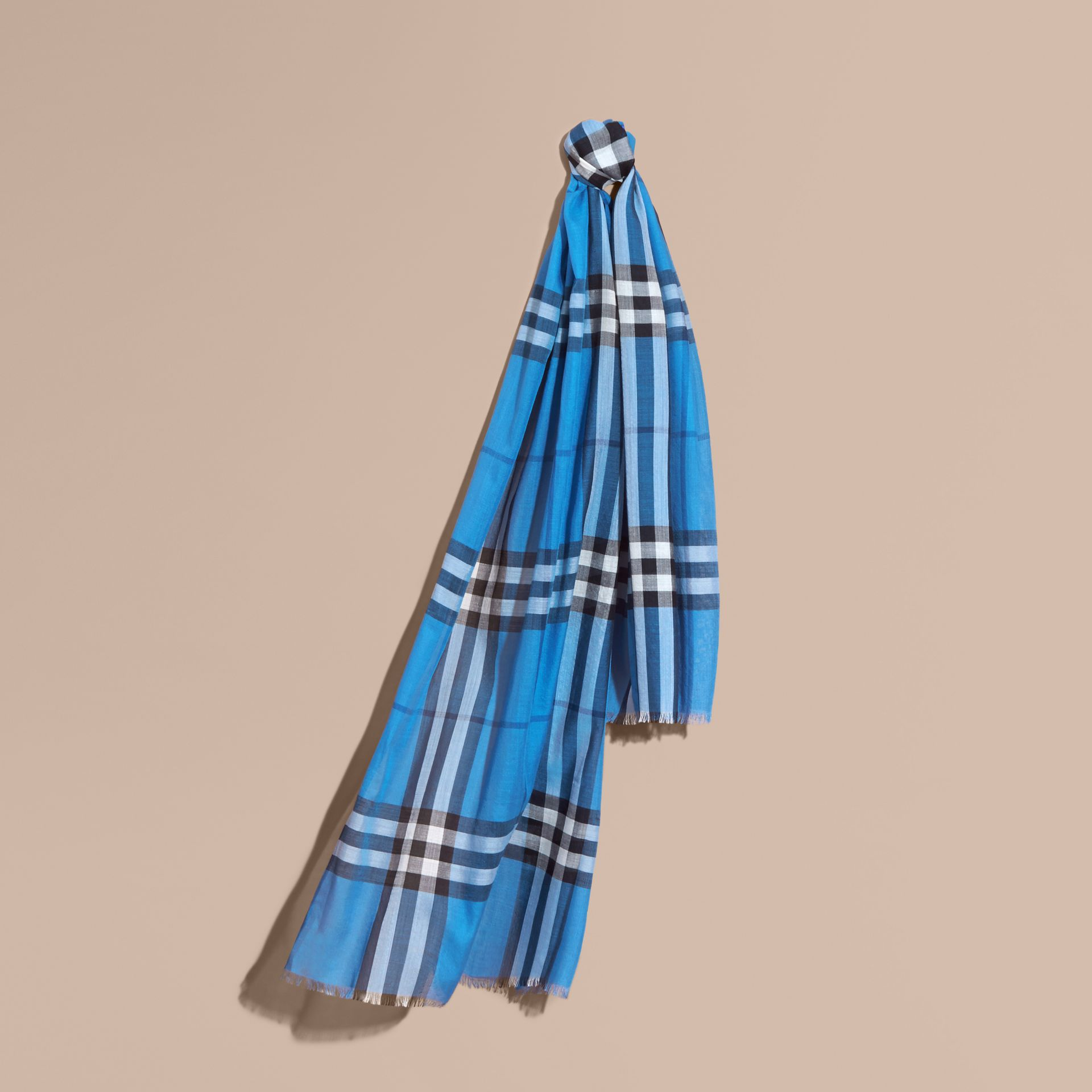 Lightweight Check Wool and Silk Scarf in Cornflower Blue - gallery image 1