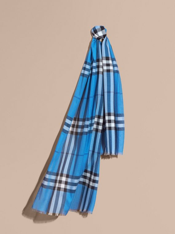 Lightweight Check Wool and Silk Scarf Cornflower Blue