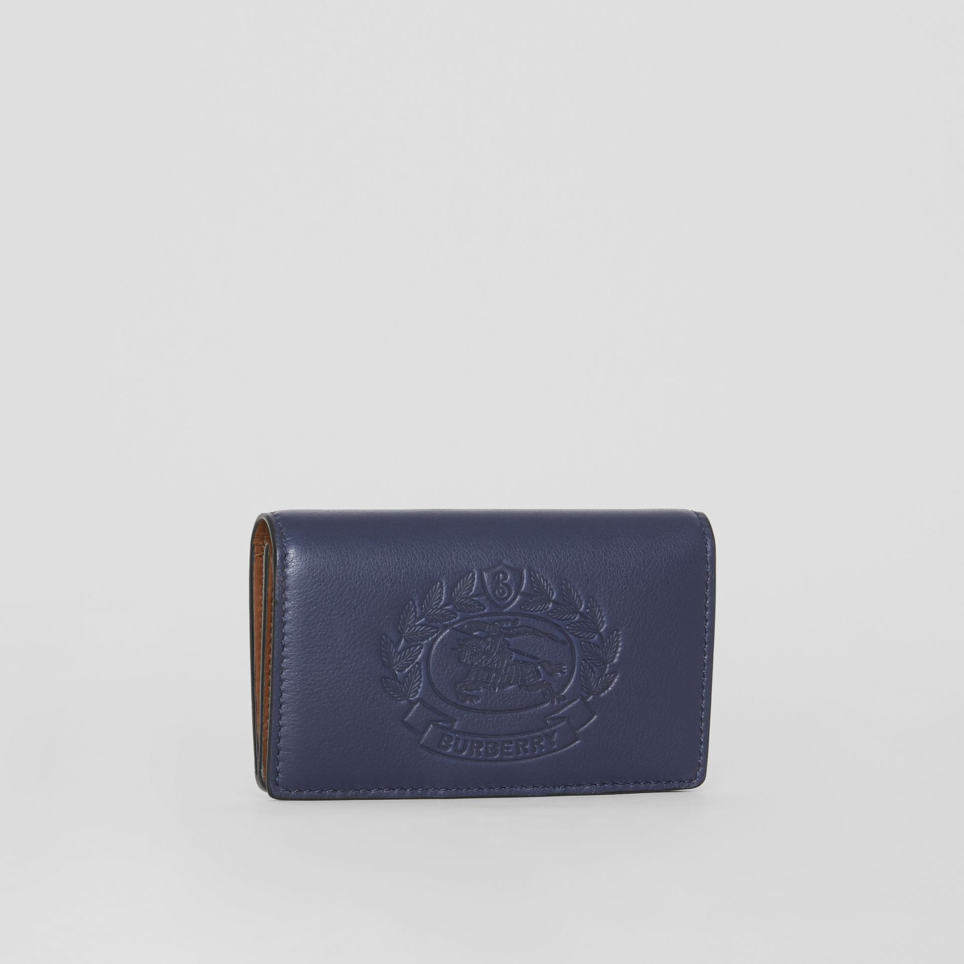Small Embossed Crest Two-tone Leather Wallet in Regency Blue - Women | Burberry - gallery image 4