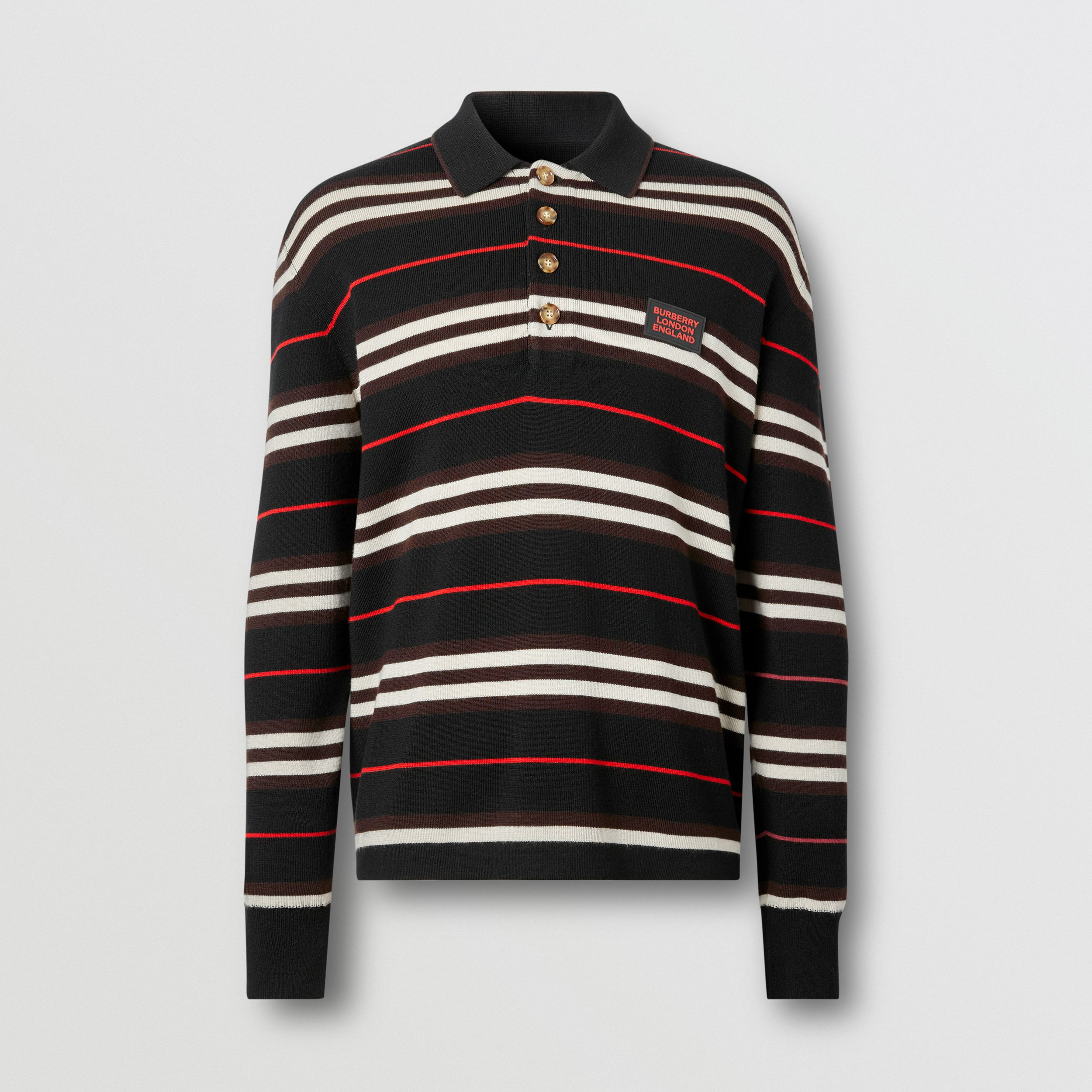 Long-sleeve Icon Stripe Merino Wool Polo Shirt in Black - Men | Burberry United States - 4