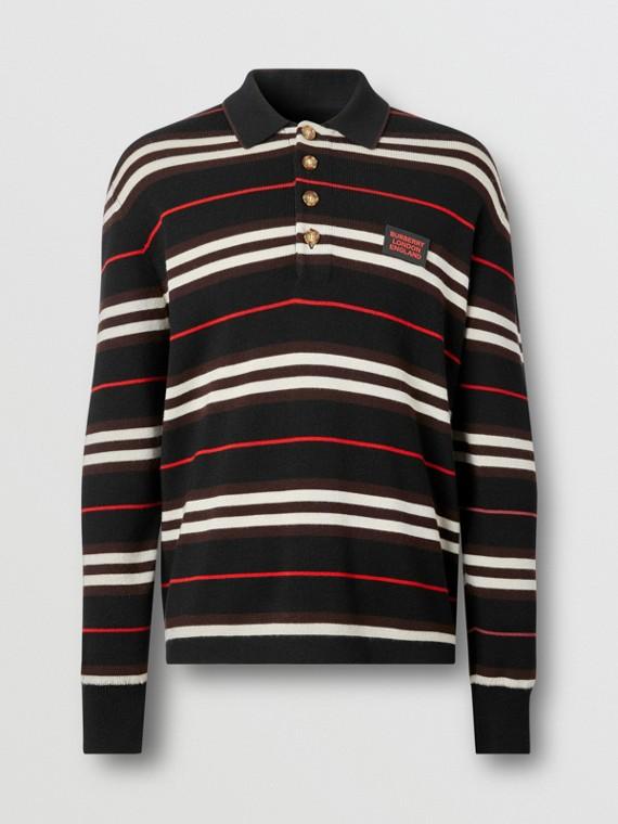 Long-sleeve Icon Stripe Merino Wool Polo Shirt in Black