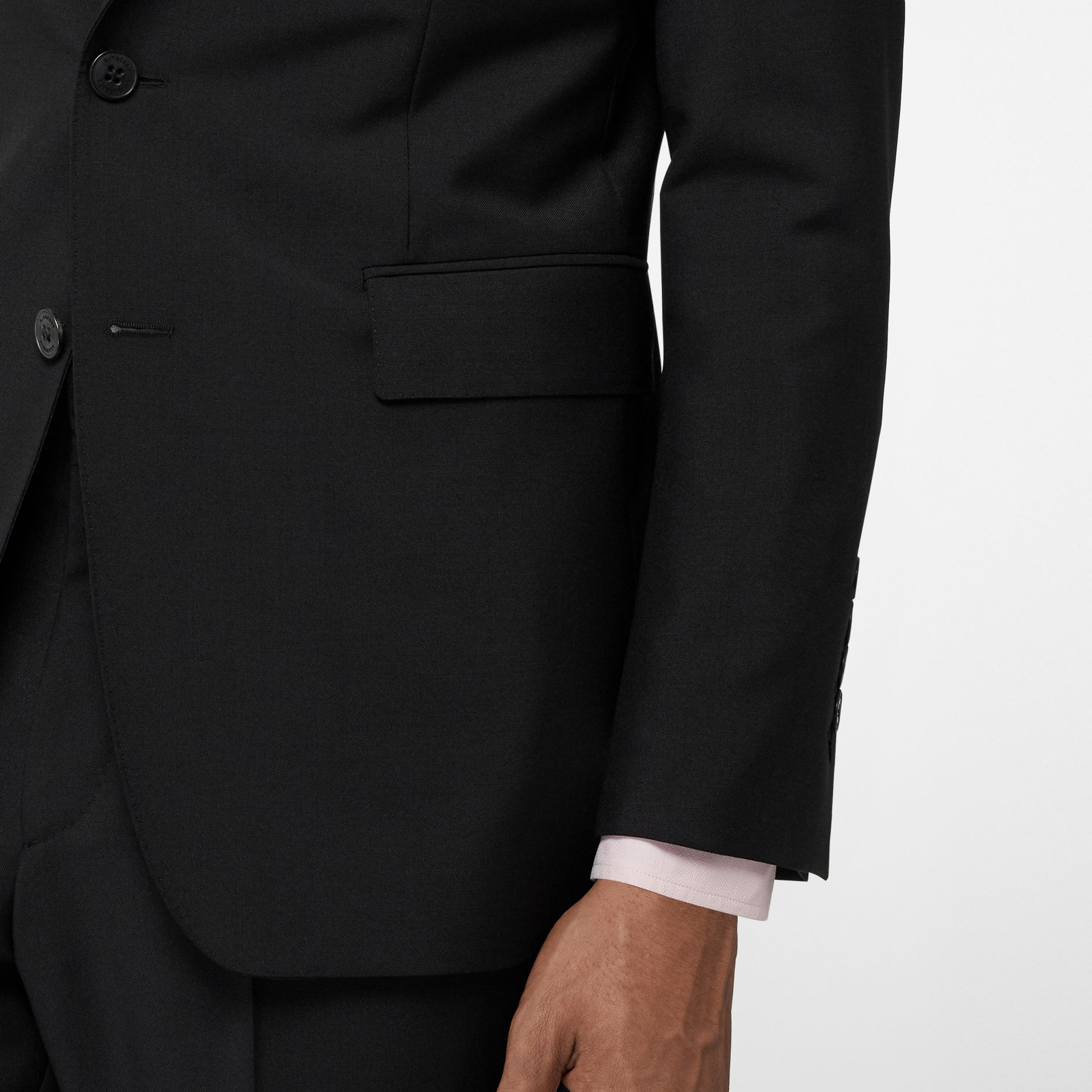 Slim Fit Wool Mohair Suit in Black - Men | Burberry United Kingdom - gallery image 4