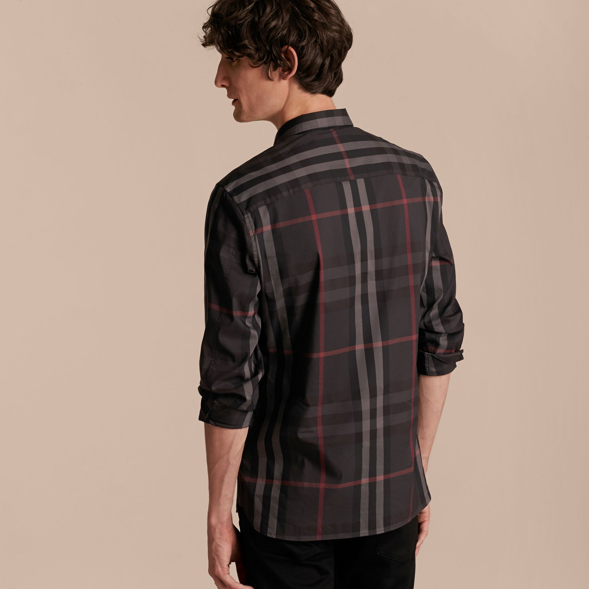 Check Stretch Cotton Shirt Dark Charcoal - gallery image 3