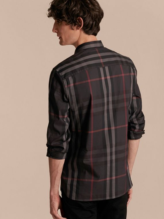 Check Stretch Cotton Shirt in Dark Charcoal - Men | Burberry - cell image 2