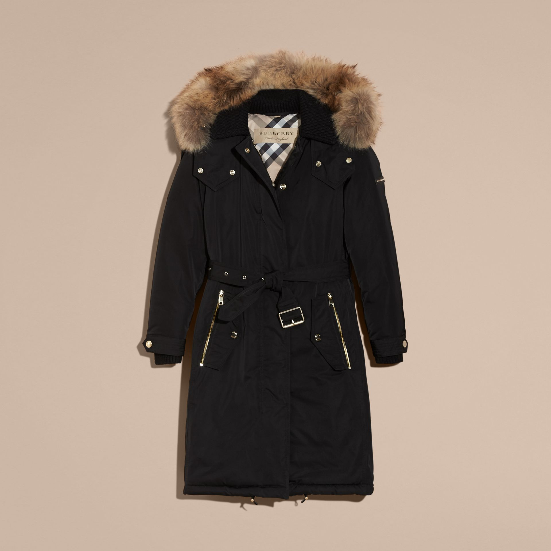 Down-filled Parka Coat with Detachable Fur Trim in Black - Women | Burberry - gallery image 4