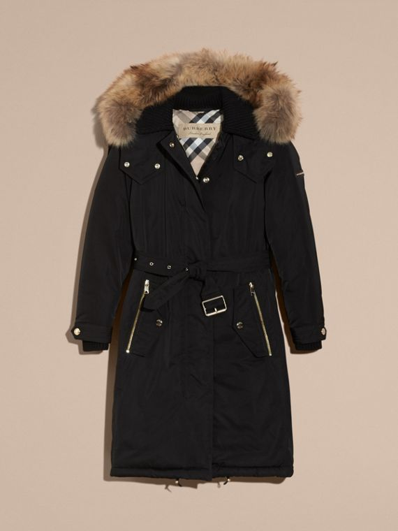 Black Down-filled Parka Coat with Detachable Fur Trim Black - cell image 3