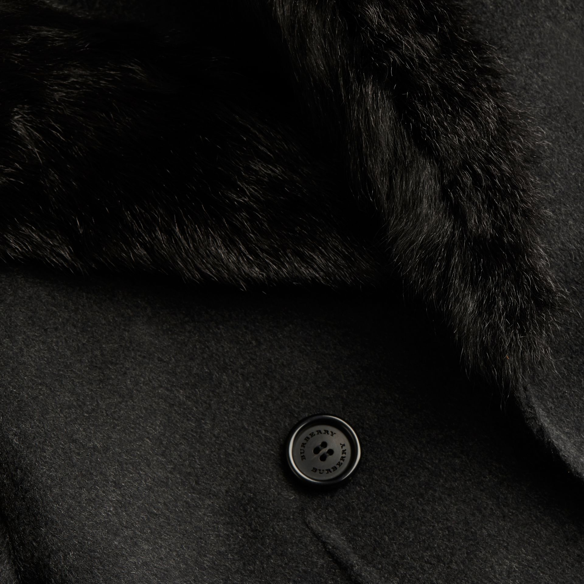 Dark charcoal melange Double Wool Top Coat with Detachable Fur Collar - gallery image 2
