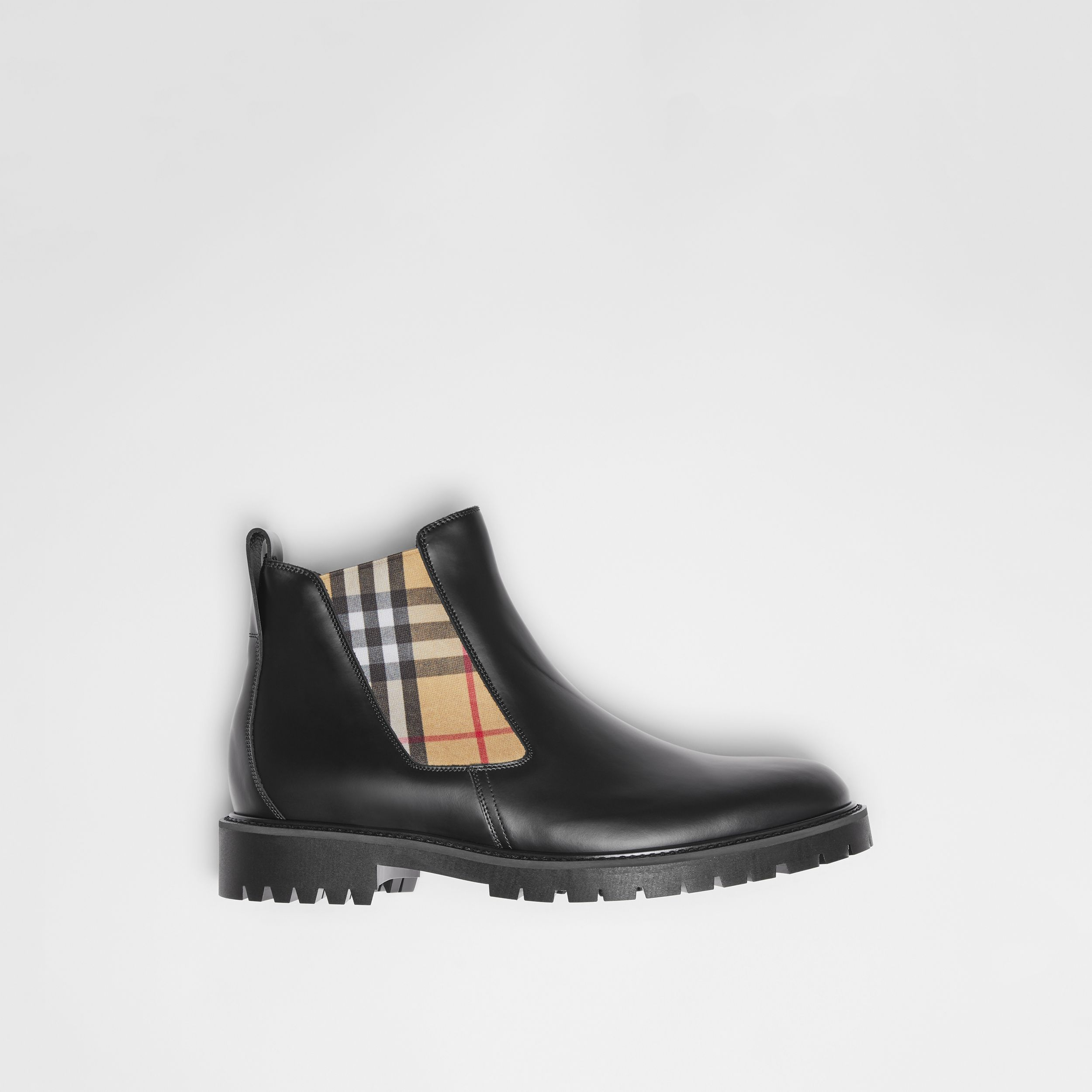 Vintage Check Detail Leather Chelsea Boots in Black - Men | Burberry - 1