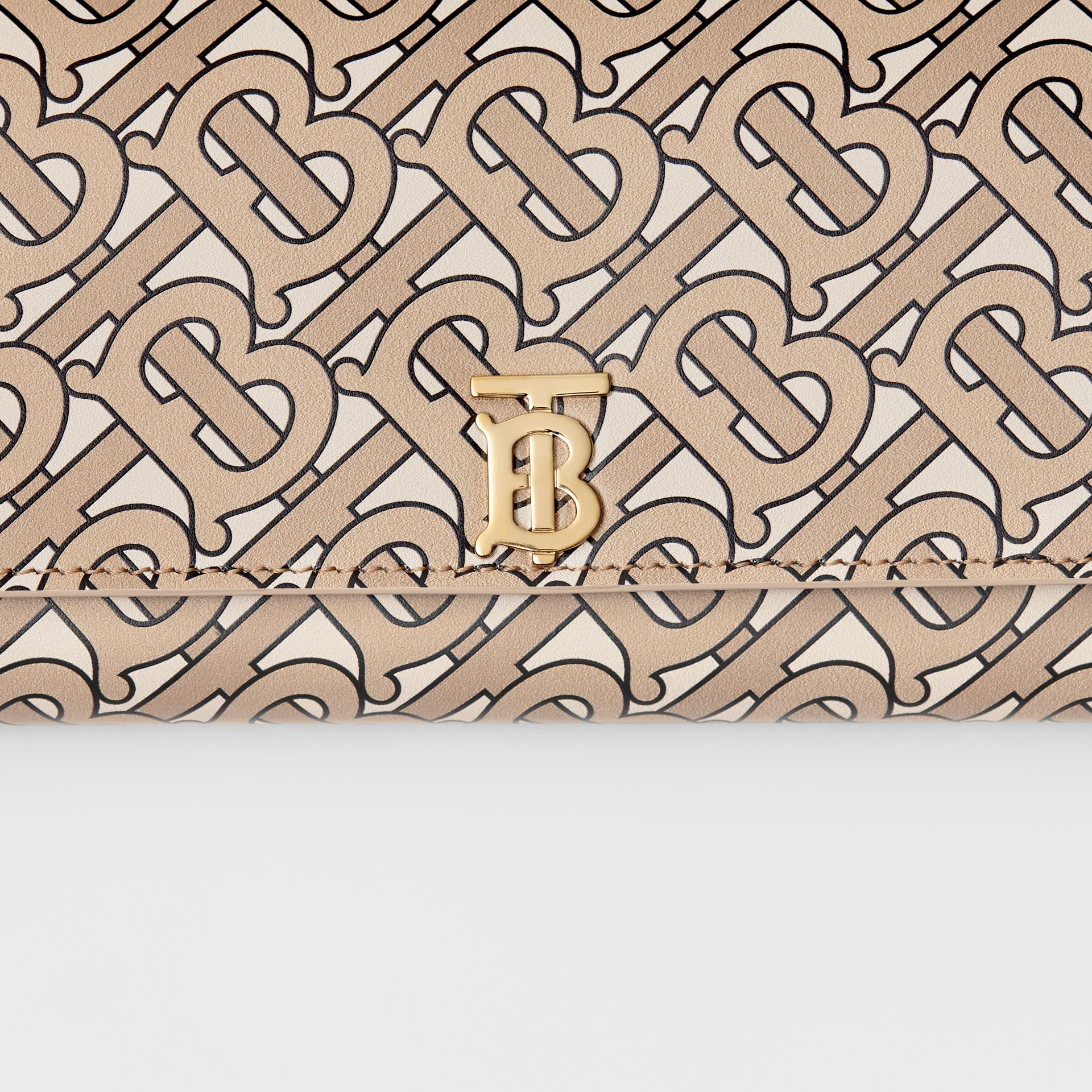 Monogram Print Leather Continental Wallet in Beige - Women | Burberry - gallery image 1