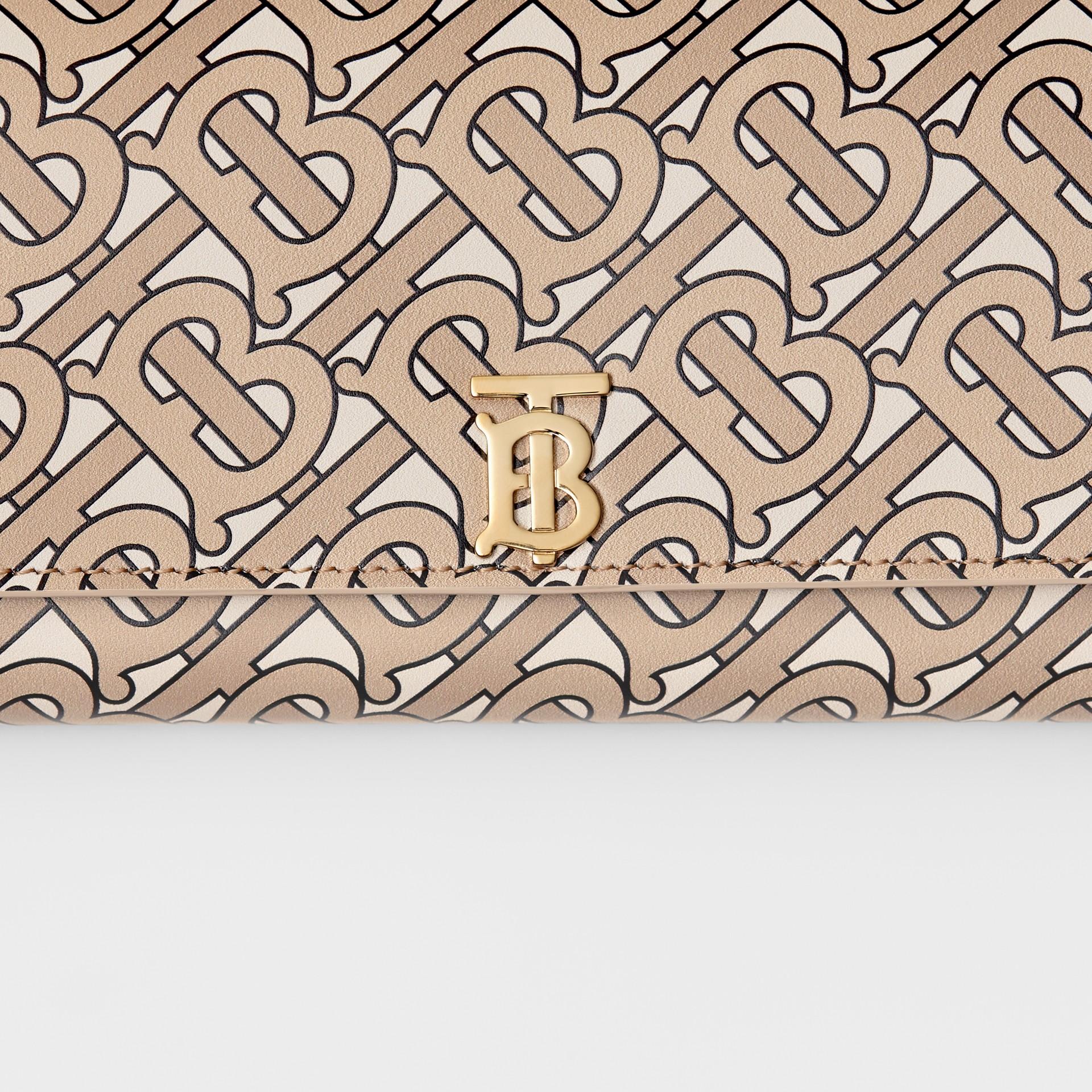 모노그램 프린트 가죽 장지갑 (베이지) - 여성 | Burberry - 갤러리 이미지 1