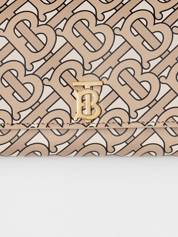 Monogram Print Leather Continental Wallet in Beige - Women | Burberry - cell image 1