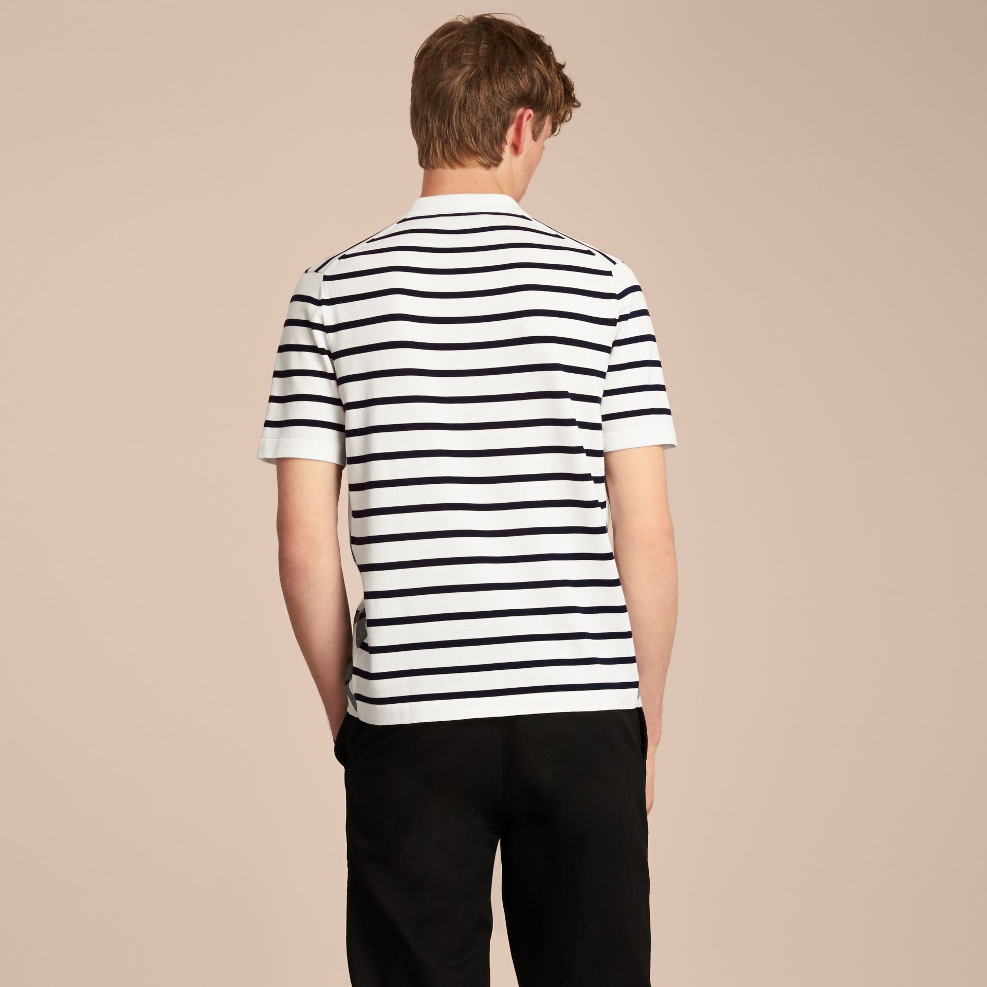 Breton Stripe Cotton Polo Shirt in White - Men | Burberry - gallery image 3