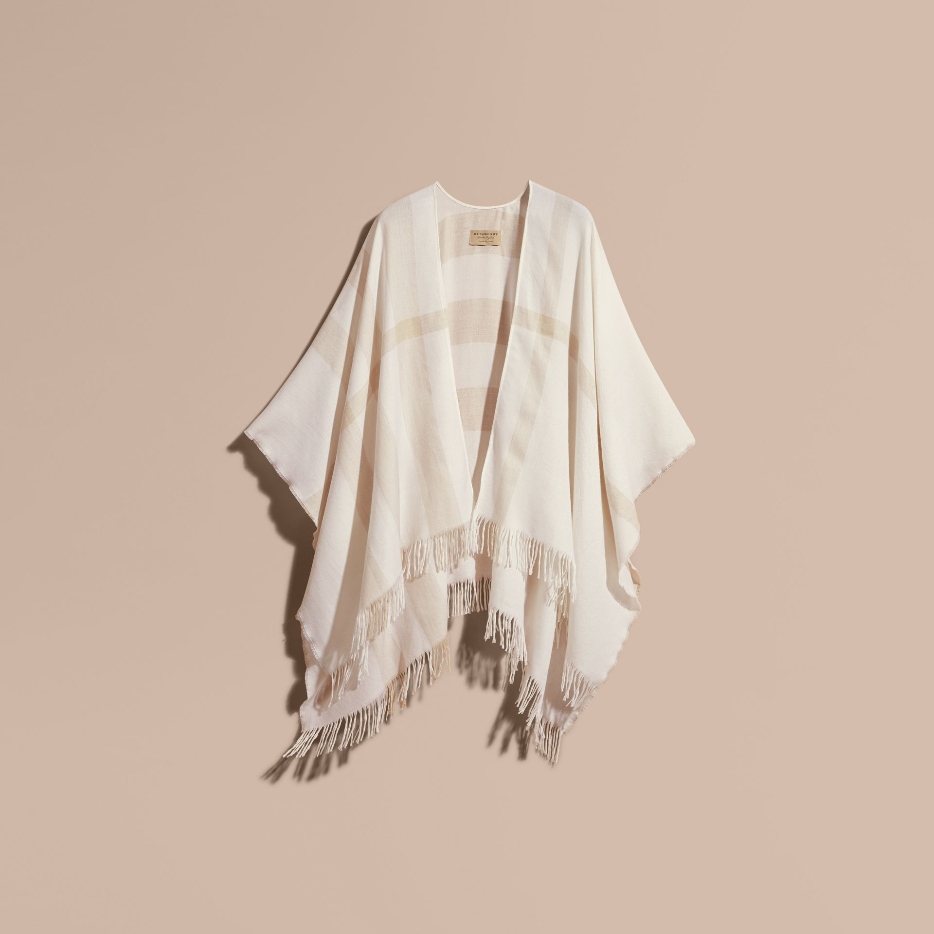 Natural white Lightweight Check Cashmere Poncho Natural White - gallery image 4