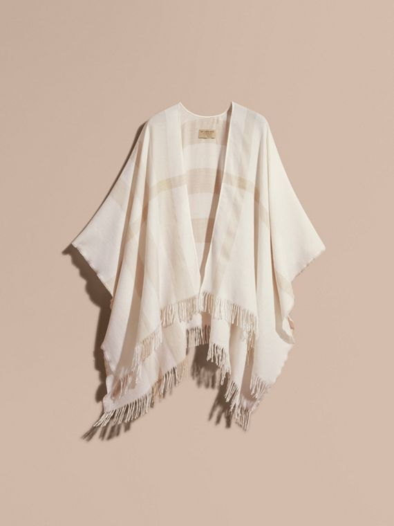 Lightweight Check Cashmere Poncho Natural White - cell image 3