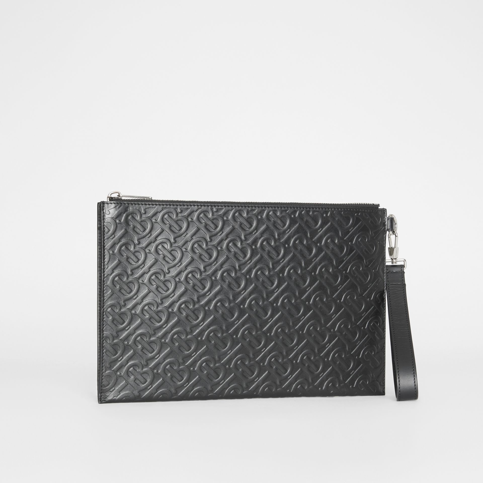 Monogram Leather Zip Pouch in Black | Burberry Canada - gallery image 3