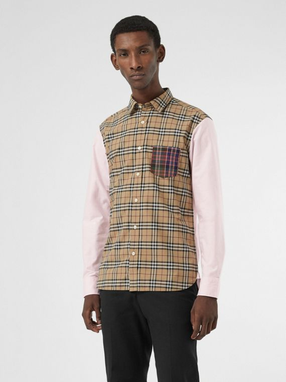 Contrast Check Panelled Cotton Shirt in Camel