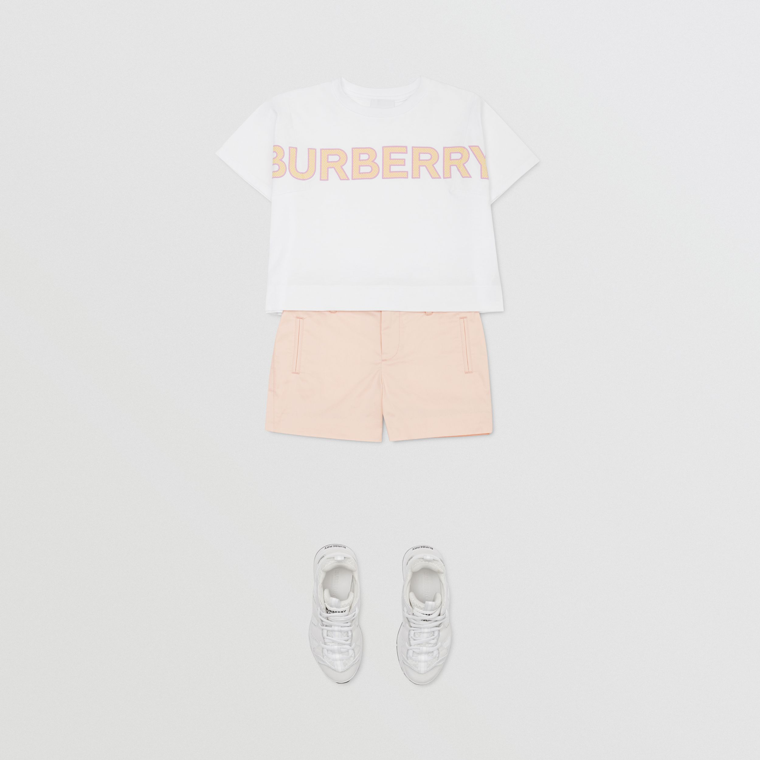 Embroidered Logo Cotton Shorts in Soft Pink | Burberry - 3