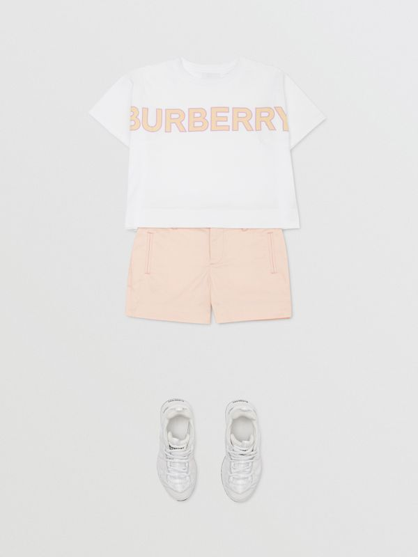 Embroidered Logo Cotton Shorts in Soft Pink   Burberry Australia - cell image 2